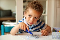 Charming,Toddler,Busy,Doing,His,Art,Activity,At,His,Desk
